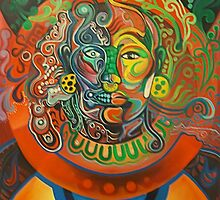 MICTLANTECUTLI AND QUETZALCOATL by Ehivar Flores Herrera