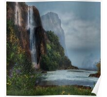 Tall Waterfall Poster