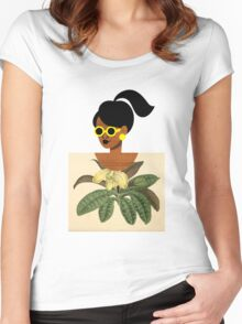 Ponytail Girl with Nature Shirt Women's Fitted Scoop T-Shirt