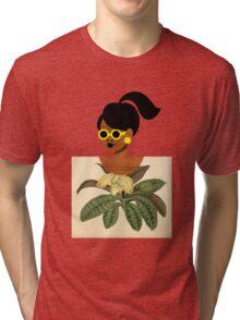 Ponytail Girl with Nature Shirt Tri-blend T-Shirt