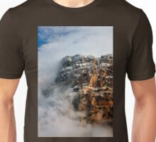 "Clouds surrounding the ""Towers"" of Astraka Unisex T-Shirt"