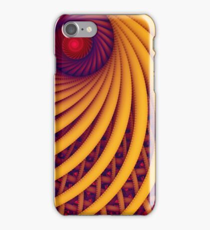 Abstract fantasy swirl tunnel with yellow and purple lines iPhone Case/Skin