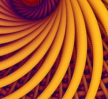 Abstract fantasy swirl tunnel with yellow and purple lines by Oksana Ariskina