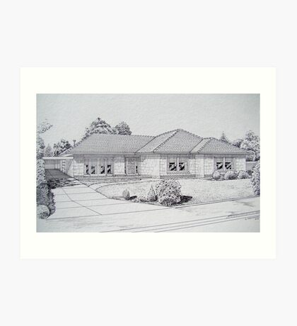 My house, in the middle of our street. Art Print