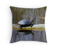 Painted turtle in the sun Throw Pillow