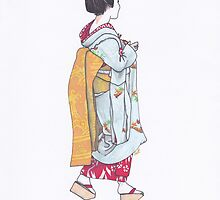 Geisha in Nara - Walking by anajayarts