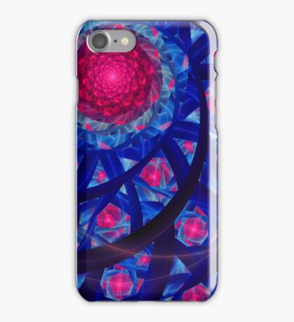 Abstract fantasy red flowers swirl lines iPhone Case/Skin