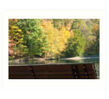 Park bench in the Fall Art Print