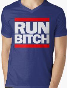 RUN BITCH (White) Mens V-Neck T-Shirt