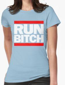 RUN BITCH (White) Womens Fitted T-Shirt