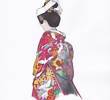 Japanese Bride in Colorful Kimono 1 by anajayarts
