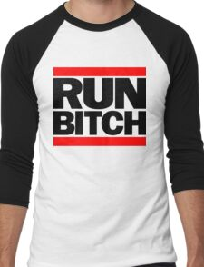 RUN BITCH (Black) Men's Baseball ¾ T-Shirt