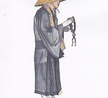 Alms Monk in Black by anajayarts