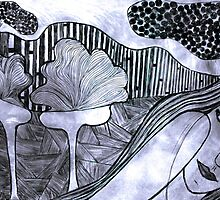 "Drypoint Etching - Lady Landscape 2 by Belinda ""BillyLee"" NYE (Printmaker)"