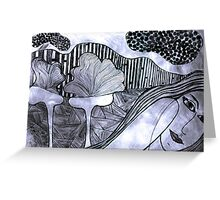 Drypoint Etching - Lady Landscape 2 Greeting Card