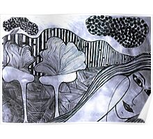Drypoint Etching - Lady Landscape 2 Poster