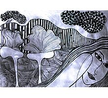 Drypoint Etching - Lady Landscape 2 Photographic Print