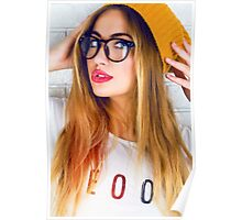 hipster girl swag cool sun style fashion pose glasses clever Poster