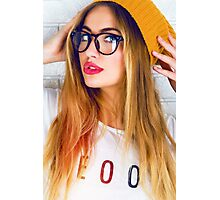 hipster girl swag cool sun style fashion pose glasses clever Photographic Print