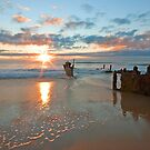 Dicky Beach Wreck - Caloundra Qld by Beth  Wode