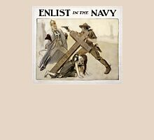 Enlist in the NAVY Vintage WWI Poster Restored Unisex T-Shirt