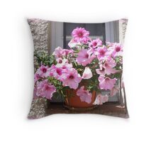 A flowery window Throw Pillow