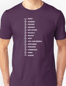 Beard Length Chart Funny Professor Grandpa T-Shirt