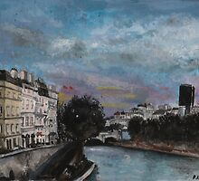 Postcards from Paris - Evening by The Seine by perphation
