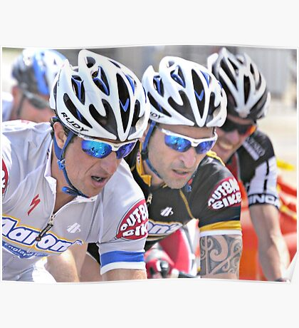 Cyclists in Tight Formation Poster