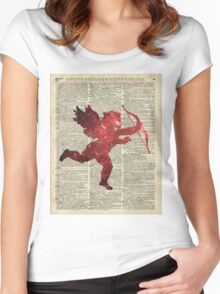 Cupid Amor Space Dictionary Collage Women's Fitted Scoop T-Shirt