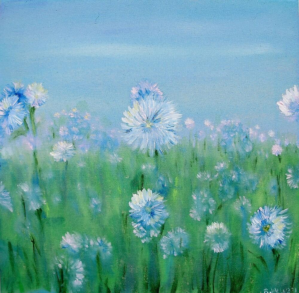 Blue white flowers by Regina Valluzzi
