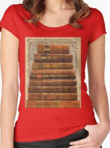 Rustic Old Books Stack on a Vintage Dictionary Page Background Women's Fitted Scoop T-Shirt
