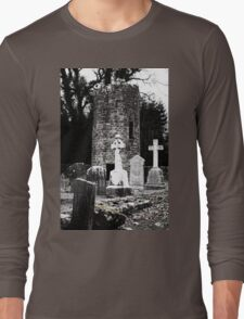 Aghavillier cemetry and round tower Long Sleeve T-Shirt