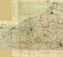 Map of World War I Battle Positions in the Bruges region Belgium by allhistory
