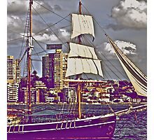 The old tall ship and modern people.. Photographic Print