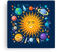 Funny Solar System Isometric Canvas Print