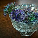 Carved glass bowl with allium flowers by steppeland