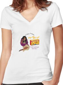 Cookie's Lions Women's Fitted V-Neck T-Shirt