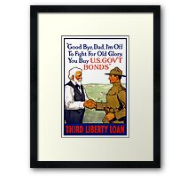 Third Liberty Loan Vintage WWI Poster Restored Framed Print