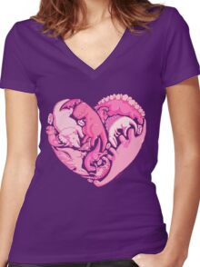 Loveasaurus Women's Fitted V-Neck T-Shirt