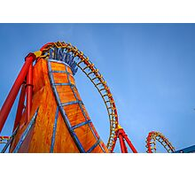 Rollercoaster in an amusement park Photographic Print