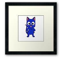 Anime cat pose - blue Framed Print