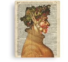 """Arcimboldo's Nature Inspired Collage """"Summer"""" on Vintage Dictionary Book Page Background Canvas Print"""