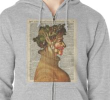 """Arcimboldo's Nature Inspired Collage """"Summer"""" on Vintage Dictionary Book Page Background Zipped Hoodie"""