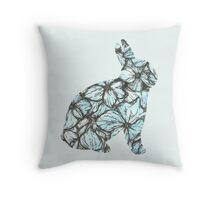 Blue Hydrangea Bunny Throw Pillow
