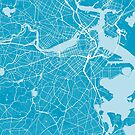 Boston Map Blue by duzhd