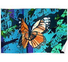 Orange butterfly graphic Poster