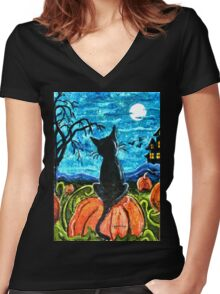 Cat in pumpkin patch Women's Fitted V-Neck T-Shirt