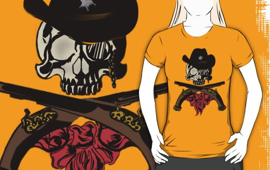 work.1589820.4.fig,gold,womens,fbfbfb.cowboy skull v3 The Halloween T shirt Showcase; Ghosts, Ghouls, Zombies & Witches