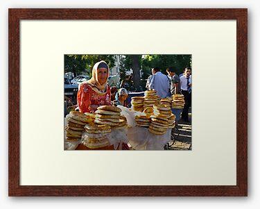 Framed print, off-white matte and walnut box frame